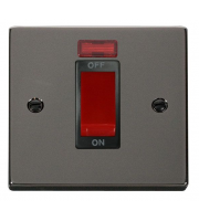 Click Scolmore 45A 1 Gang Dp Switch With Neon - Black - (Black Nickel)
