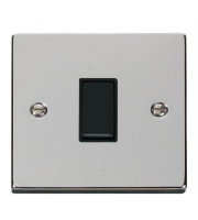 Click Scolmore 10AX 1 Gang 2 Way Plate Switch - Black - (Polished Chrome)
