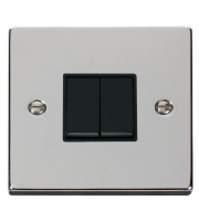 Click Scolmore 10AX 2 Gang 2 Way Plate Switch - Black - (Polished Chrome)
