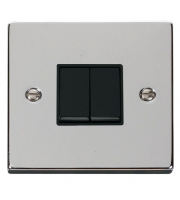 Click Scolmore 10AX 2 Gang 2 Way Plate Switch - White - (Polished Chrome)