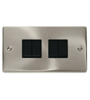 Click Scolmore Vpsat/ch 10A 4-GANG 2-WAY Switch Bk