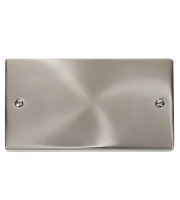 Click Scolmore 2 Gang Blank Plate - (Satin Chrome)