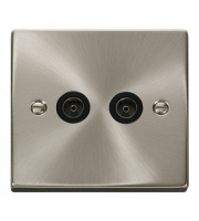 Click Scolmore Non-isolated Twin Coaxial Outlet