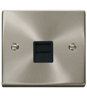 Click Scolmore Single Telephone Outlet - Secondary - Black - (Satin Chrome)