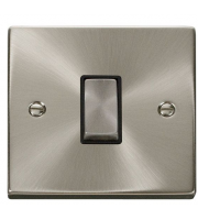 Click Scolmore 10AX Ingot 1 Gang 2 Way Plate Switch - Black - (Satin Chrome)