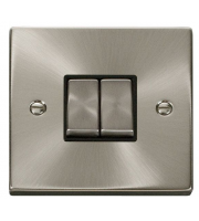 Click Scolmore 10AX Ingot 2 Gang 2 Way Plate Switch - Black - (Satin Chrome)