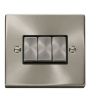 Click Scolmore 10AX Ingot 3 Gang 2 Way Plate Switch - Black - (Satin Chrome)