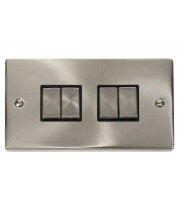 Click Scolmore 10AX Ingot 4 Gang 2 Way Plate Switch - Black - (Satin Chrome)