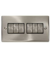 Click Scolmore 10AX Ingot 6 Gang 2 Way Plate Switch - Black - (Satin Chrome)