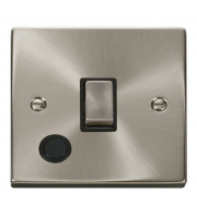 Click Scolmore 20A Ingot Dp Switch With Optional Flex Outlet - Black - (Satin Chrome)