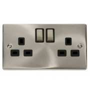 Click Scolmore 13A Ingot 2 Gang Dp Switched Socket - Black - (Satin Chrome)