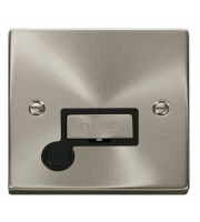 Click Scolmore 13A Ingot Fused Connection Unit With Optional Flex Outlet - Black - (Satin Chrome)