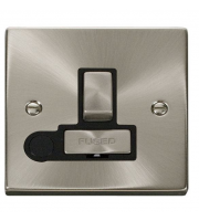 Click Scolmore 13A Ingot Dp Switched Fused Connection Unit With Optional Flex Outlet - Black - (Satin Chrome)