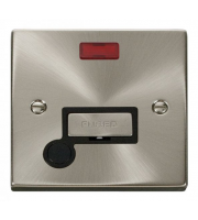 Click Scolmore 13A Ingot Fused Connection Unit With Neon Without Flex Outlet - Black - (Satin Chrome)