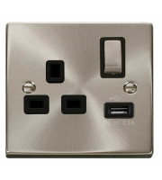 Click Scolmore 13A Ingot 1 Gang Switched Socket With 2.1A Usb Outlet - Black - (Satin Chrome)