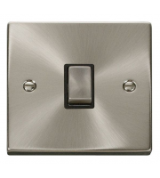 Click Scolmore 20A Ingot Dp Switch Without Flex Outlet - Black - (Satin Chrome)