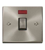Click Scolmore 20A Ingot Dp Switch With Neon Without Flex Outlet - Black - Satin Chrome