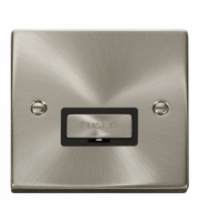 Click Scolmore 13A Ingot Fused Connection Unit Without Flex Outlet - Black - (Satin Chrome)