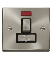 Click Scolmore 13A Ingot Dp Switched Fused Connection Unit With Neon Without Flex Outlet - Black - (Satin Chrome)