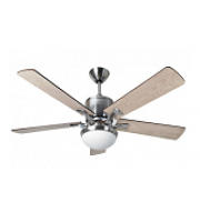 Fantasia Delta 52 Inch Low Energy Ceiling Fan with Aries Light (Brushed Nickel and Maple)