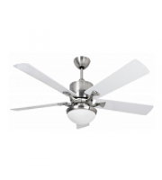Fantasia Delta 52 Inch Low Energy Ceiling Fan with Aries Light (Brushed Nickel and White)