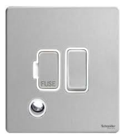 Schneider Electric Screwless Flat Plate 13A Fuse Spur DP Switch with Flex Outlet (Stainless Steel)