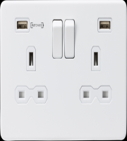 ML ACCESSORIES 13A 2G Dp Switched Socket With Fast Type a Usb Charger Port (4.0A) - Matt White