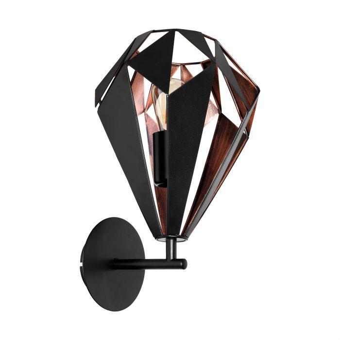 Eglo CARLTON 1 wall light Black, Copper Black, Copper
