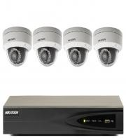 4CH Hikvision HD NVR + 4 x 2MP Outdoor WDR Vandal IP Dome Camera Kit (Black/White)