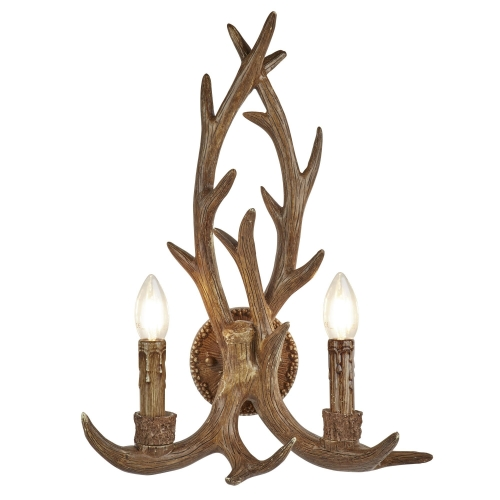 Searchlight 2 Light Antler Wall Bracket, Rustic Brown Resin Finish