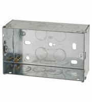 2 Gang Flush Back Box with Knockout - 47mm - Galvanised