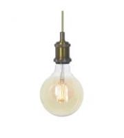 Ansell Secco Decorative Pendant C/w G125 Led Filament Lamp (Antique Brass)