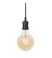 Ansell Secco Decorative Pendant C/w G125 Led Filament Lamp (Black Chrome)