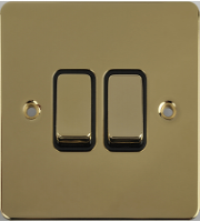 Schneider Electric GET Ultimate Flat Plate 2G 2 Way Switch (Polished Brass)