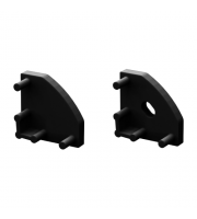 DTS Black End Caps For 45 Degree Profile Pair