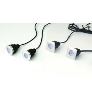 ELD 5 Square White Deck Light Kit With Transformer,Outdoor,Weatherproof