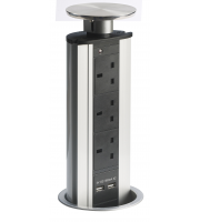 ELD Powerport Popup Worktop Socket and USB adapter - Silver