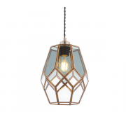 Endon Lighting Ripley 1lt Pendant Antique solid brass & clear/smoked glass Not applicable