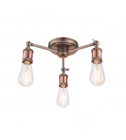 Endon Lighting Hal 3lt Semi flush Aged pewter & aged copper plate Dimmable