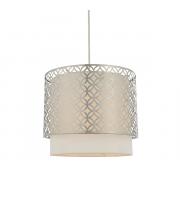 SALE Endon Lighting Gilli 1lt Pendant Satin nickel plate & vintage white linen Dimmable