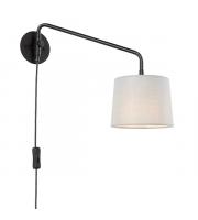 Endon Lighting Carlson 1lt Wall Matt black & light grey fabric Non-dimmable