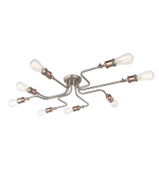 Endon Lighting Hal 8lt Semi flush Aged copper & aged pewter plate Dimmable