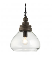 Endon Lighting Kerala 1lt Pendant Taupe grey distressed wood & clear glass Dimmable