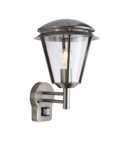 Endon Lighting Iken 1lt Wall Brushed stainless steel & clear pc Non-dimmable