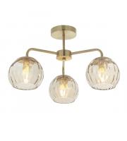 Endon Lighting Dimple 3lt Semi flush Satin brass plate & champagne lustre glass Dimmable