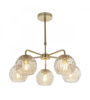 Endon Lighting Dimple 5lt Pendant Satin brass plate & champagne lustre glass Dimmable