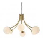 Endon Lighting Bloom 6lt Pendant Satin brass plate & opal glass Dimmable
