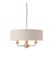 Endon Lighting Highclere 3lt Pendant Champagne paint & blush pink fabric Dimmable