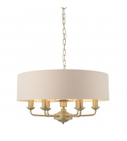Endon Lighting Highclere 6lt Pendant Champagne paint & blush pink fabric Dimmable