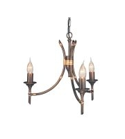 Bamboo 3 Light Chandelier (Bronze Patina)